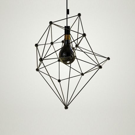 Black Light by Diana Dumitrescu.   A black bulb connected to a black cord drop into a molecular styled lamp shade.