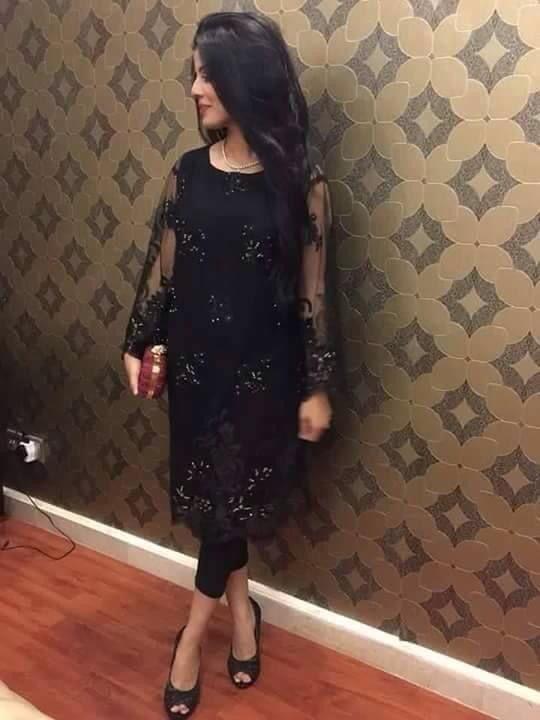 Black lace kameez tunic