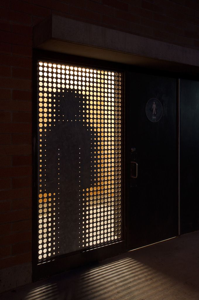 Carscadden Stokes McDonald Architects SWALWELL PARK washroom steel waterjet sign