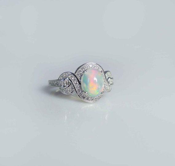 Opal Ring White Topaz Sterling Silver Swirl