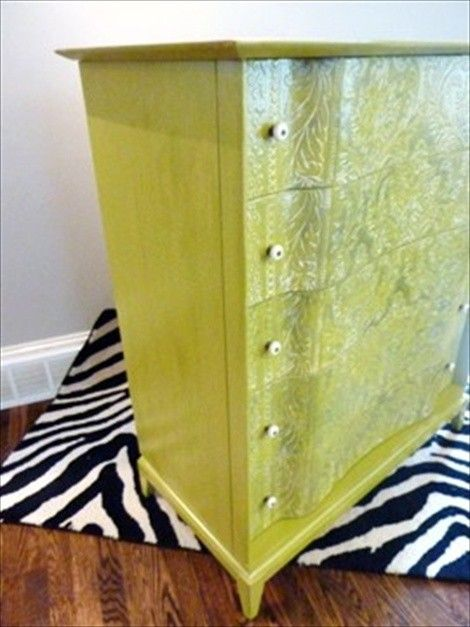plastic ceiling tile on dresser, then painted