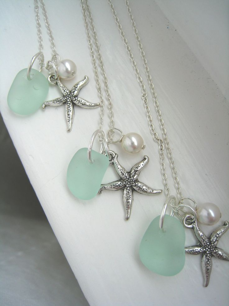 Starfish and Aqua Sea Glass Necklaces. Tiffany Blue Beach Wedding. Beach Wedding. $79.00, via Etsy.: