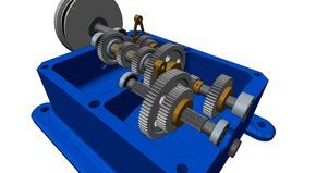 Multi-Speed Multi-Stage Gearbox - Turret Lathe Head - PTC Creo Parametric,STEP / IGES,PTC Creo Elements - 3D CAD model - GrabCAD