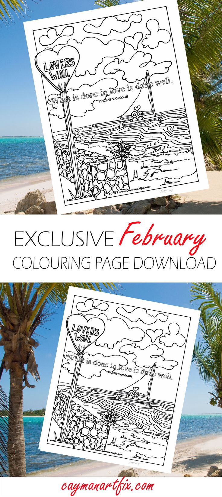 February's free colouring page for the month of love. The Lovers Wall. This page is set against the beautiful East End, Cayman Islands. Download this printable colouring page instantly by signing up today.  #adultcoloring #download #printable #february #loverswall #eastend #coloringpage #free #monthoflove #caymanart