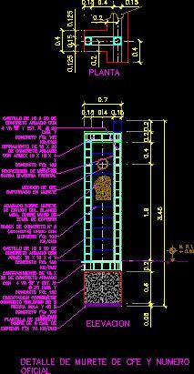 Murete de acometida electrica subterranea (dwgDibujo de Autocad)