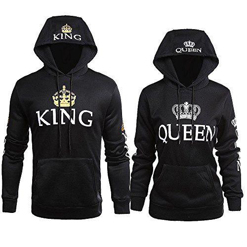 King Queen Pull Couple Hoodies Paire Set Pour Femme et Homme Impression des  KING ET QUEEN à Capuche Manches Longues Pullover 2 Pieces Par JWBBU bd8636ab3ed6