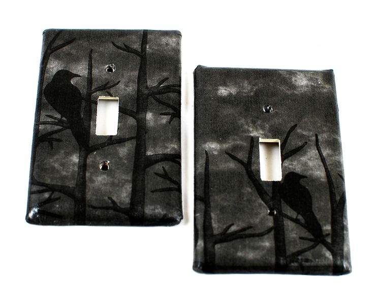 Raven Wood - Hand covered Switch Plate - Goth - Gothic -  Dark Home Decor - Unique - Gifts under 10. $7.00, via Etsy.