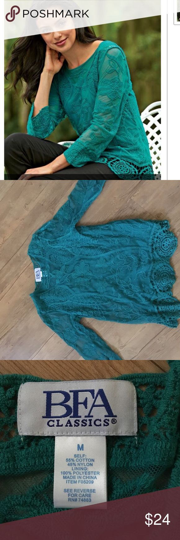 Teal lace too with crochet hemline Teal size medium beautiful lace blouse with crochet hemline. Attached cami underneath. BFA Classics  Tops Tunics
