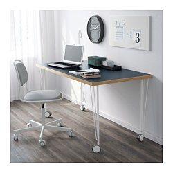 IKEA - LINNMON / KRILLE, Tafel, blauw/wit, , Het tafelblad is bedekt met een matte verf die beschermt tegen stoten en krassen, en het oppervlak tegelijkertijd zacht en glad maakt.Door de geremde wielen kan de tafel makkelijk worden verplaatst en blijft hij op zijn plaats staan als dat moet.Voorgeboorde gaten voor poten; eenvoudig te monteren.Board-on-frame is een sterk en licht materiaal met een frame van hout, spaanplaat of hardboard en een vulling van gerecycled papier. Je hebt du...