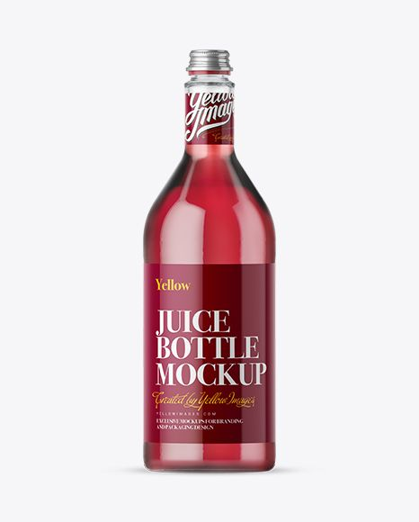 1L Clear Glass Bottle With Berry Syrup Mockup. Preview