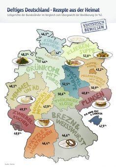 Geschmäcker sind verschieden. Jedes Bundesland hat seine kulinarischen Eigenheiten. Wir haben die besten regionalen Rezepte der Bundesländer, inklusive unserem heimlichen 17. Bundesstaat Mallorca, zusammengetragen und dem Übergewicht der Bevölkerung gegenübergestellt. Schleswig-Holstein – Rübenmalheur Zutaten 500 g Kasseler (ohne Knochen) 2 Kochwüste (Mettenden oder Kohlwürste) 500 g Steckrüben 500 g Karotten 500 g Kartoffeln Eine Zwiebel Salz, Pfeffer, Fleisch- oder Gemüsebrühe, Fett zum…