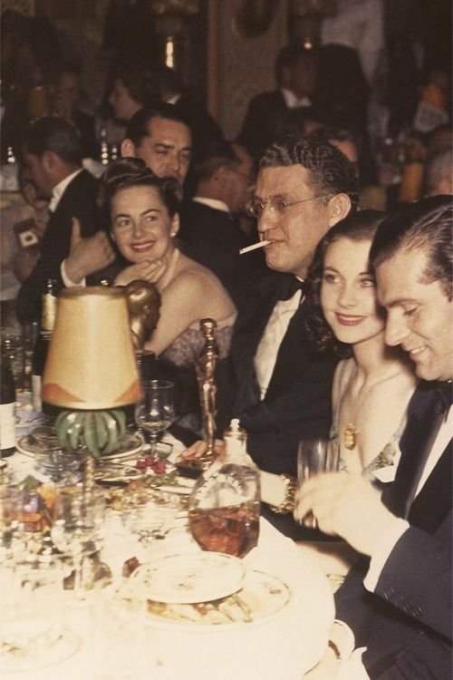 Olivia DeHavilland, David O. Selznick, and Vivien Leigh celebrating their wins for Gone With the Wind at the Academy Awards, 1939