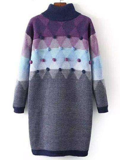 Purple Grey Mock Neck Twisted Ball Sweater Dress