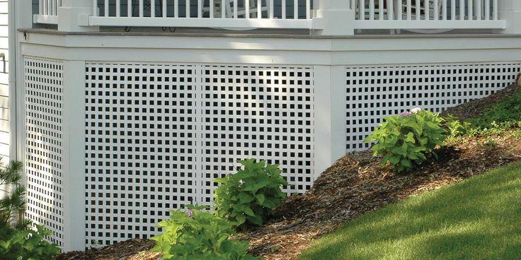 Porch skirting with Dimensions™ white Square Privacy Plastic Lattice.