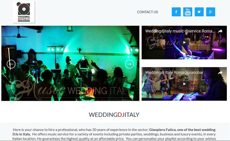 Wedding Dj online new page with more video demo for all the best solutions of your event in Italy info@romadjpianobar.com for your music palylist and best quote