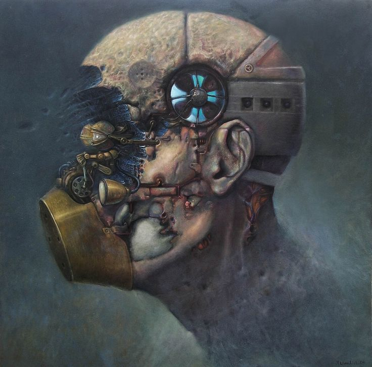 maciej wierzbicki - air conditioner head  , oil on board 100/100 cm