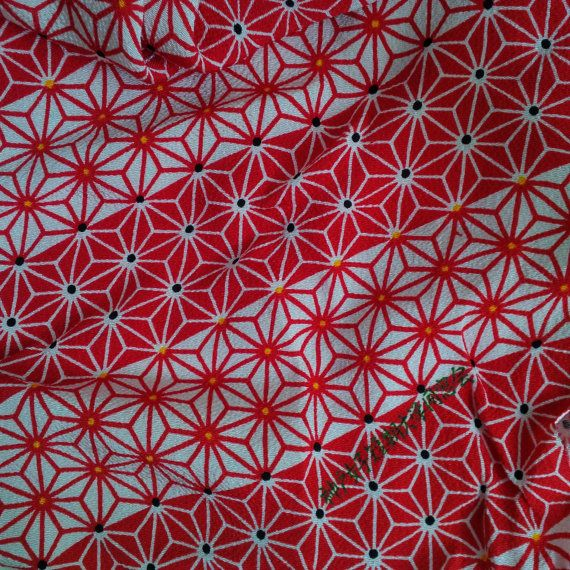 Japanese fabric red white stars  Furoshiki chirimen by bila