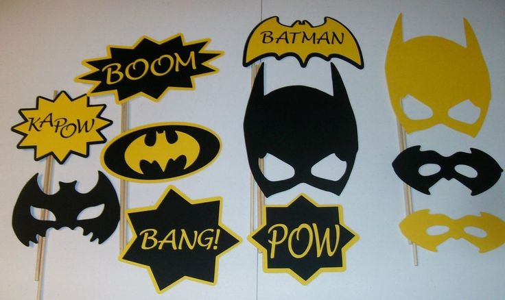 DIY- 11 Photo Booth Props Batman Boom Yellow and Black (2102D) #HandCrafted