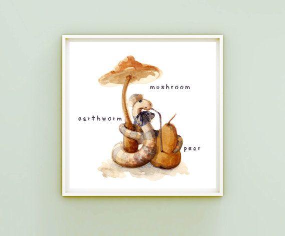 Earthworm Children's Illustration DIY Printable