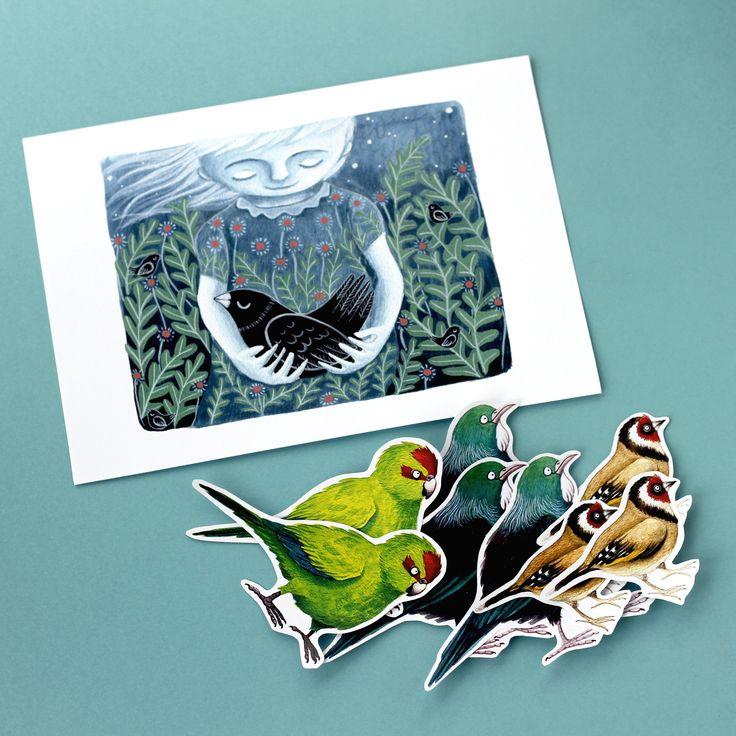 bird themed illustrations- art print and stickybeaks stickers by Emma Scheltema Illustration