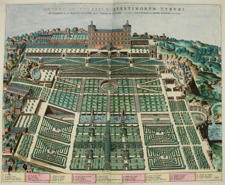 Bird's-eye plan view of the gardens at Villa d'Este (Tivoli), Italy. Date 1560-1575 via