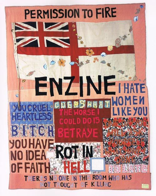 Tracey Emin,2004:Part of the YBA movement she used aesthetics of her work to contrast with ideas portrayed within.Her pretty quilt has angry emotions inspired by Margaret Thatcher's views and rule on England at the time.Offensive language contrasts with the soft/feminine colours which they are made of.Manet also uses this concept with the bathing girl, painted with harsh detail to create her striking image yet her feminine fragility is expressed through her body language and lonesome nature.