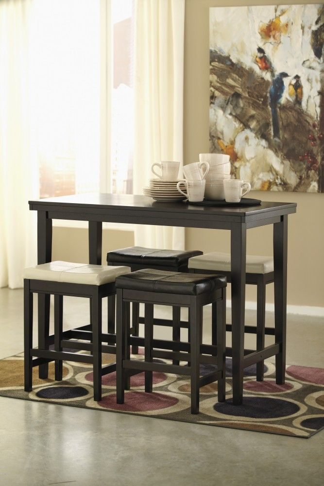 Kimonte RECT Dining Room Counter Table 2 Cream UPH Barstools Dark Brown