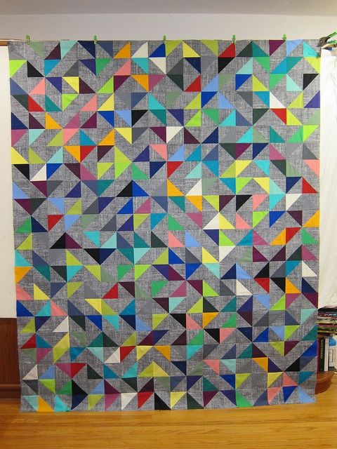 """Random Vector"" quilt by Susan of SKquiltlabs. This quilt is laid out according to a random number generator for pattern orientation, and the maker tried not to repeat a color in any row/column - such precision and planning for something so seemingly ""random."" Wow"