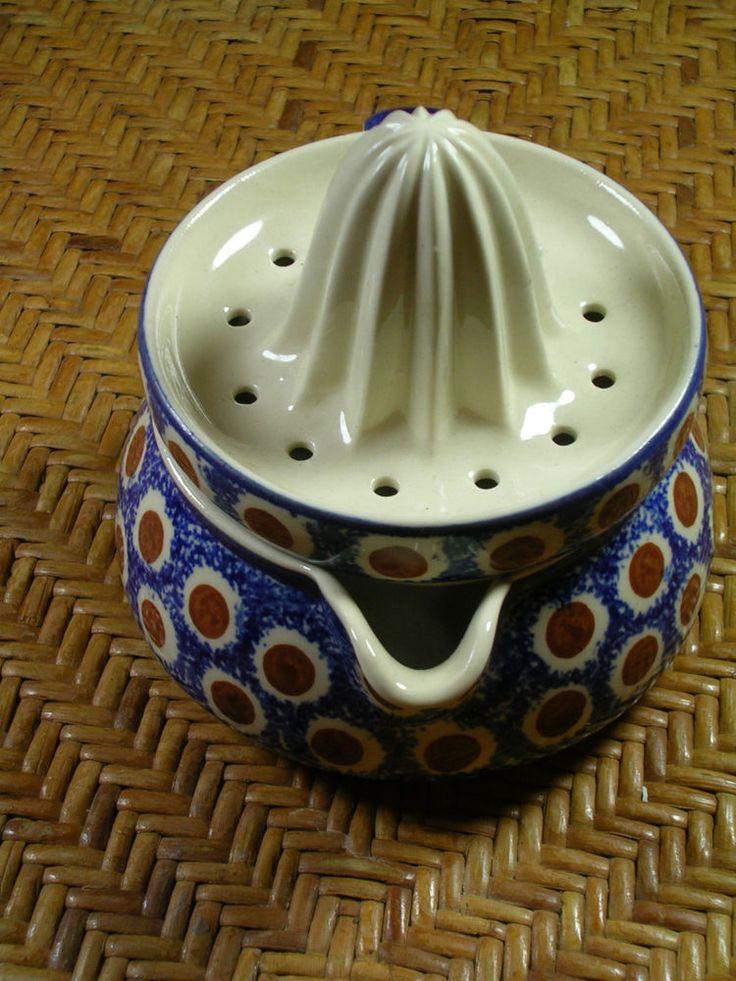 Vintage Polish Pottery Juicer and Olive Holder