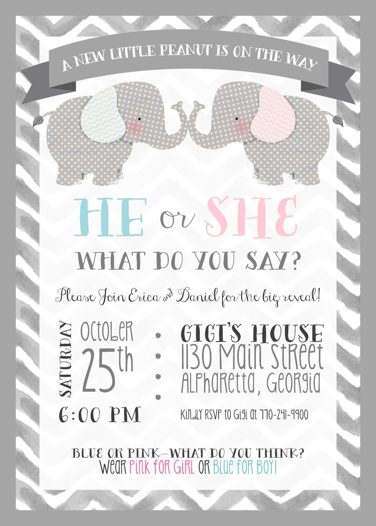 Elephant Theme Gender Reveal Party Invitation Elephant Theme – Elephant Party Invitations