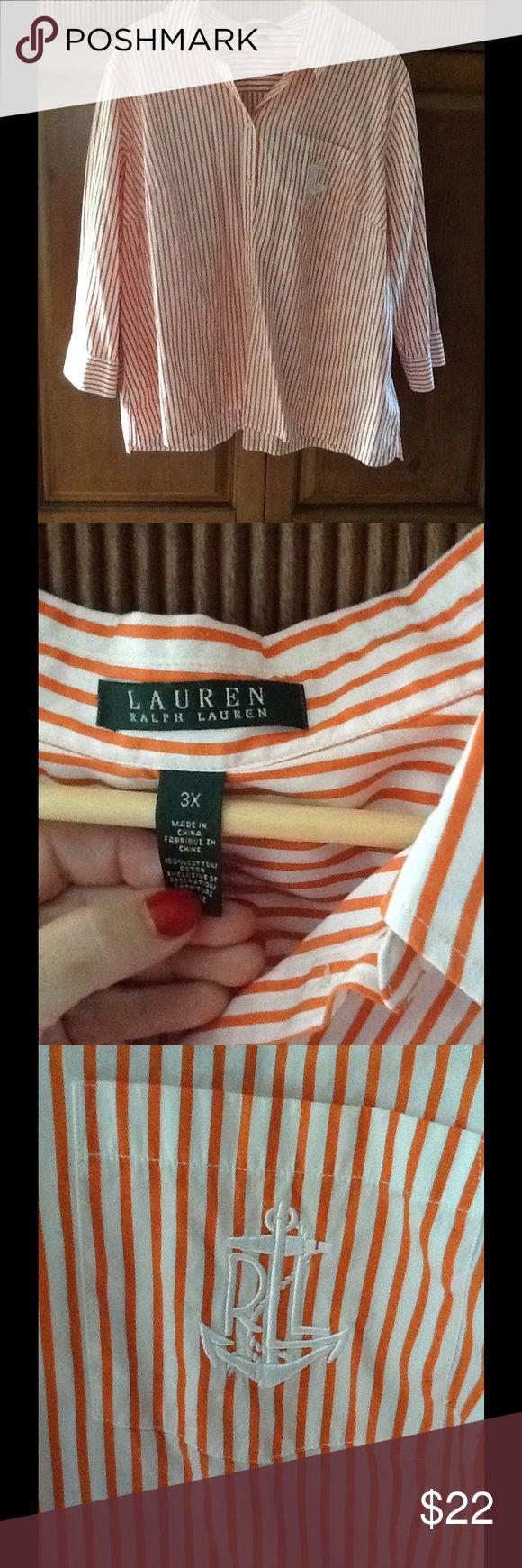 Ralph Lauren 3X Women's Orange Shirt Very good shape. Comes from a non smoking house. Ralph Lauren Shorts