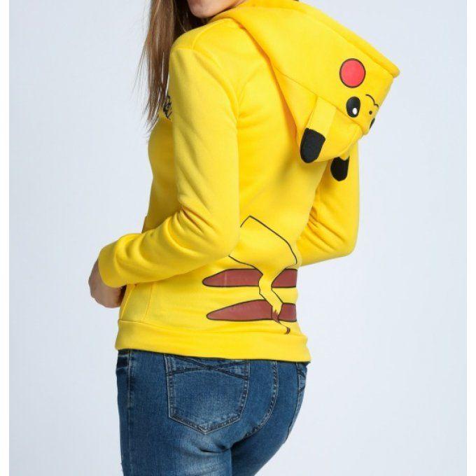 19.90€ Veste sweat à capuche jaune Pikachu Pokemon - bestyle29.com