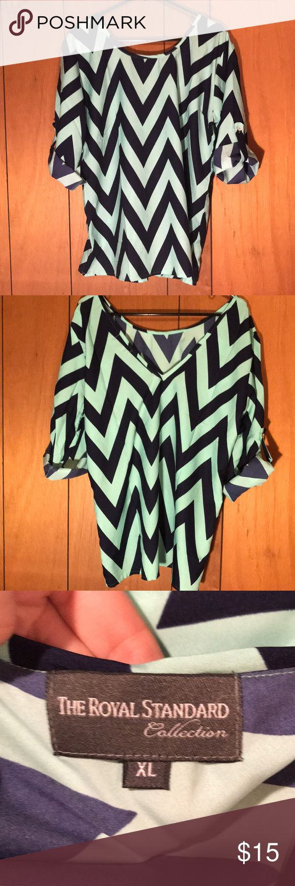 """Chevron blouse Seafoam green and blue chevron patterned blouse. """"V"""" back with sleeves that are able to be buttoned up or left long. The Royal Standard Tops Blouses"""