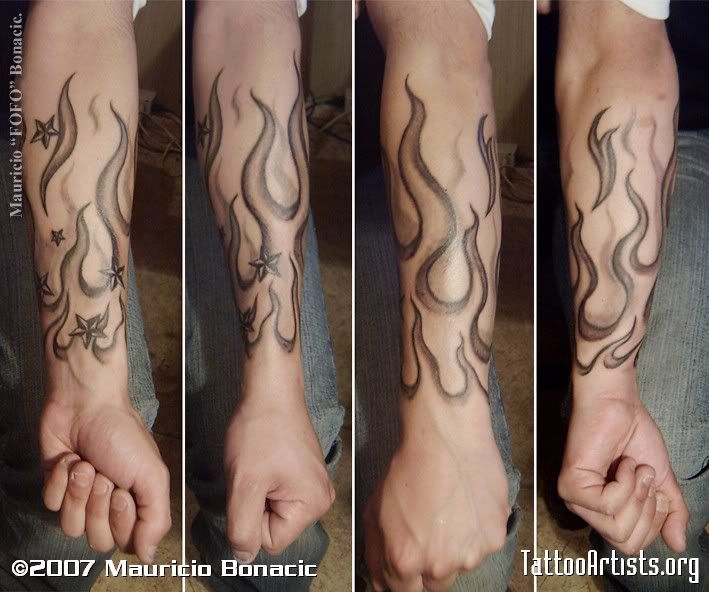 Ghost Flame Tattoos | Grey Ink Nautical Star And Fire And Flame Tattoo