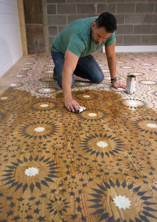 Learn How Weaber Lumber Stenciled A Hardwood Floor Using The - Cutting edge wood floors