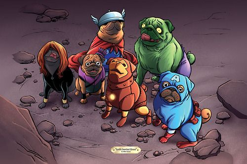 The color version of Mike Norton's pug Avengers.