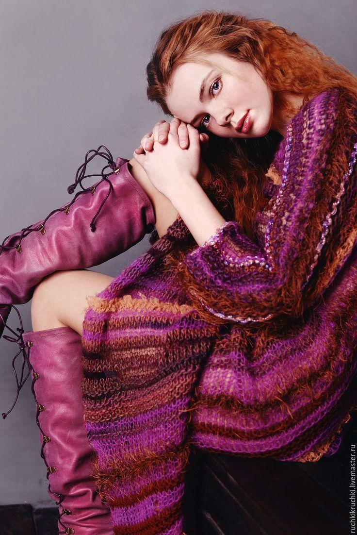"""Купить Платье """"Ягодный пирог с корицей"""" вязаное спицами - бордовый, в полоску, платье, вязание"""