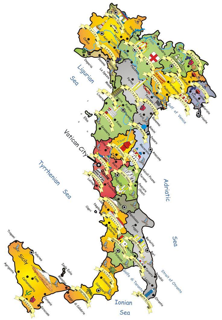 Mapa dos Melhores Destinos de Itália e Regiões Italianas