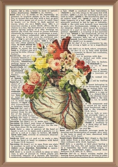ANATOMICAL HEART with FLOWERS -- Vintage Dictionary Art Print -- BIZZIBEEZ on etsy