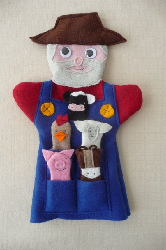 Old Macdonald Hand Puppet & Farmyard animal Finger Puppets. $55.00, via Etsy.