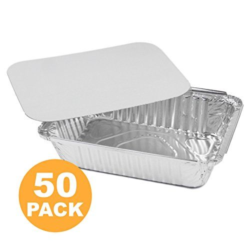 Rectangular Disposable Aluminum Foil Pan Take Out Food Containers with Flat Board Lids, Steam Table Baking Pans, 32 oz, 2.25 lb, Quart [50 Pack] - Rectangular Disposable Aluminum Foil Pan Take Out Food Containers with Flat Board Lids, Steam Table Baking Pans, 32 oz, 2.25 lb, Quart [50 Pack]