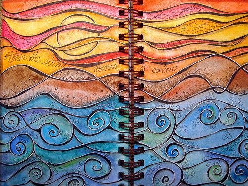 Waves: Canvas Ideas, Journals Covers, Colors Combos, Sun Moon, Journals Inspiration, Art Journals Pages, Calm Sea, The Waves, Journals Art