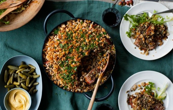 Lentil and Garlic Sausage Cassoulet This streamlined, somewhat lighter cassoulet employs French green lentils, bacon, and smoked sausage.