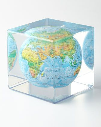 Blue Mova Cube with Relief Map by Mova Globe at Neiman Marcus.