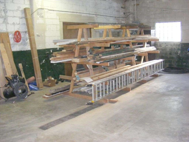 17 best images about workshop lumber racks on pinterest for Lumber yard storage racks