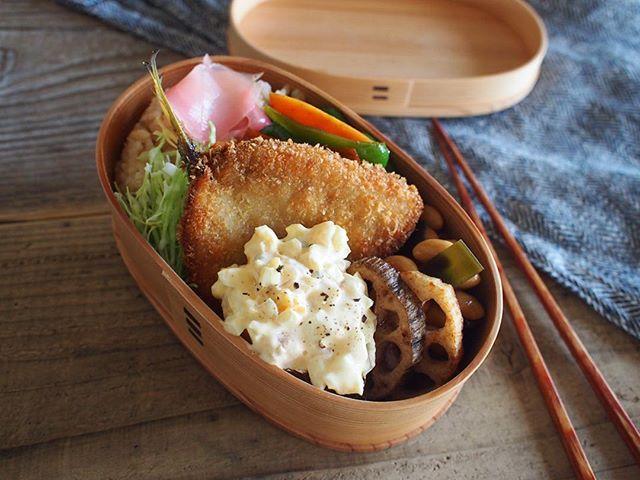 2015.10.08#お弁当  ずっと食べたかったアジフライ❤︎ ・・ #弁当#obento#bento