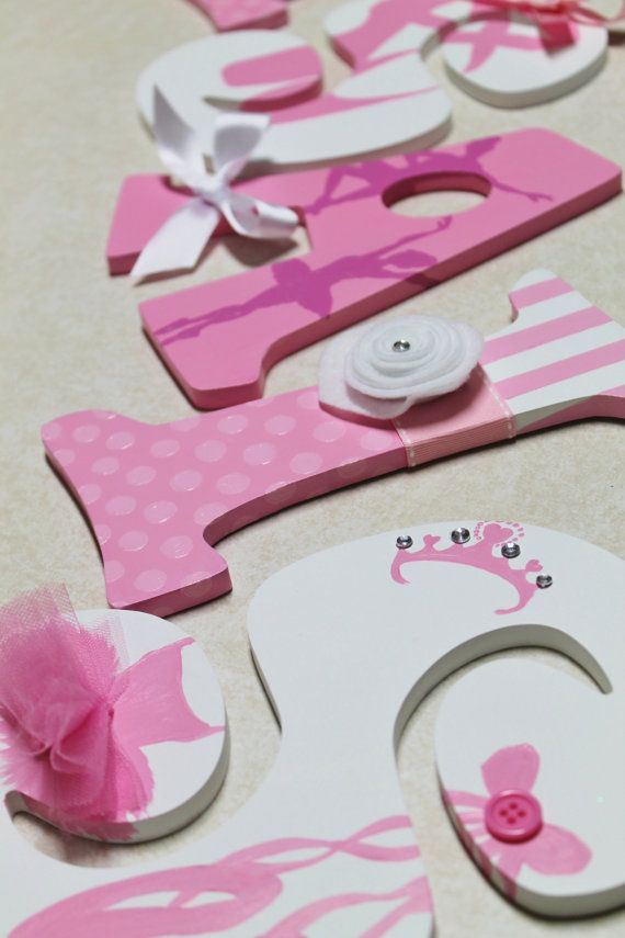 Pink and White TuTu Cute Ballerina Themed Personalized Wooden Letters for Nursery, Bedroom, or Party on Etsy, $19.00