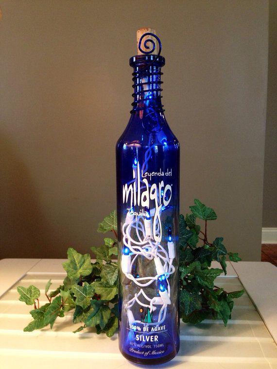 Milagro Cobalt Blue Tequila Bottle Light Lamp Cut Wire