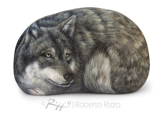 I Painted this Wild Wolf on a Natural Sea Rock. An Unrepeatable Piece of Art and a great Gift Idea for all of you, Nature Lovers!  My painted