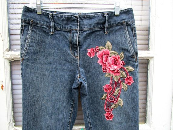 Bohemian Rose Embroidered Applique Denim Trousers// by emmevielle